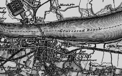 Old map of Gravesend in 1896
