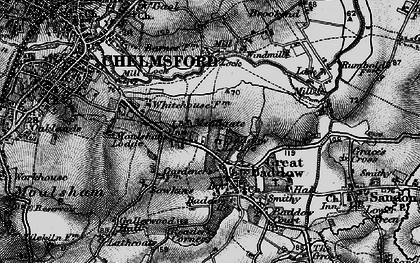 Old map of Great Baddow in 1896