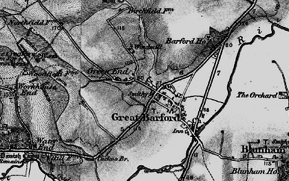 Old map of Great Barford in 1896