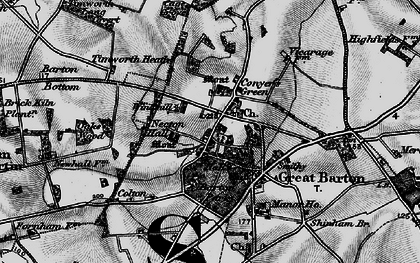 Old map of Great Barton in 1898
