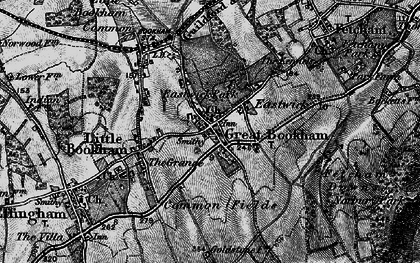 Old map of Great Bookham in 1896