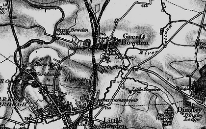 Old map of Great Bowden in 1898