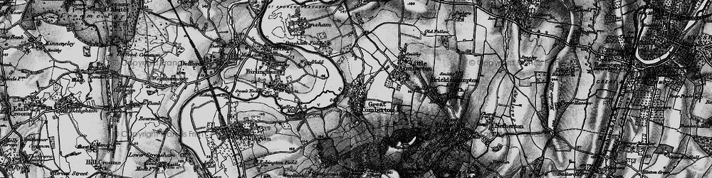 Old map of Great Comberton in 1898