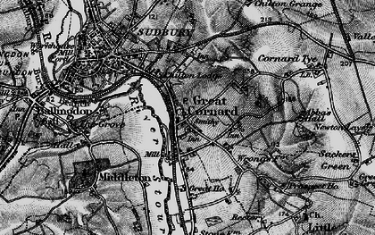 Old map of Great Cornard in 1895