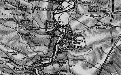 Old map of Great Durnford in 1898