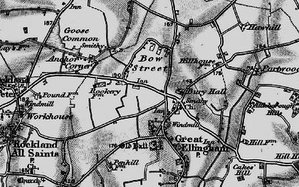 Old map of Great Ellingham in 1898