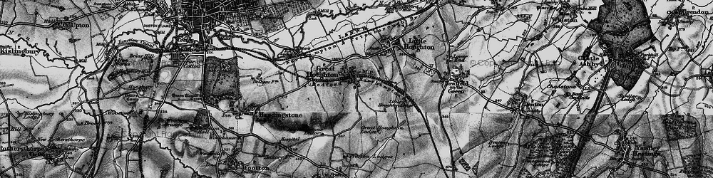 Old map of Great Houghton in 1898