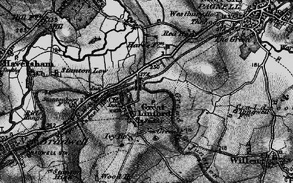 Old map of Great Linford in 1896