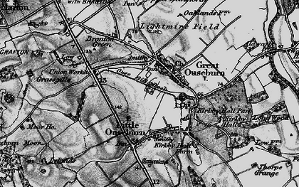 Old map of Great Ouseburn in 1898