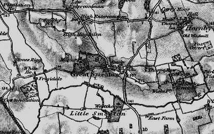 Old map of Great Smeaton in 1898