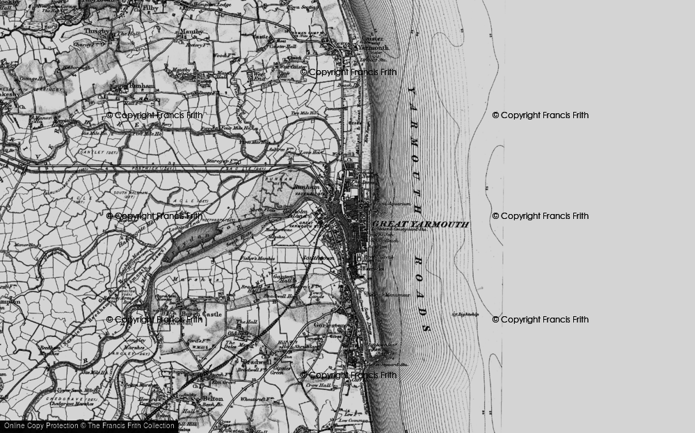 Old Map of Historic Map covering Yarmouth Roads in 1898