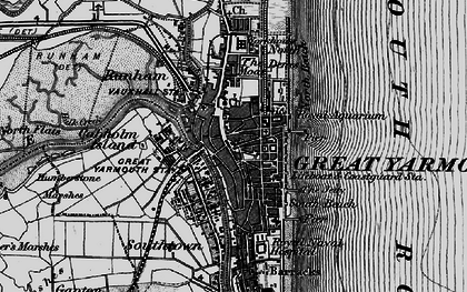 Old map of Yarmouth Roads in 1898