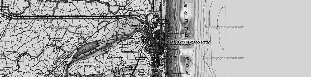 Old map of Great Yarmouth in 1898