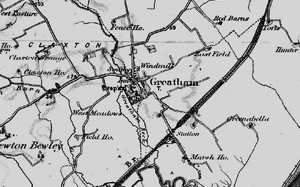 Old map of Greatham in 1898