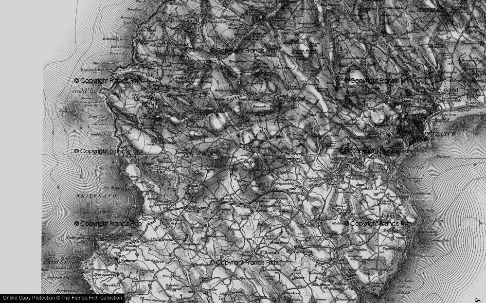 Old Map of Historic Map covering Leswidden in 1895