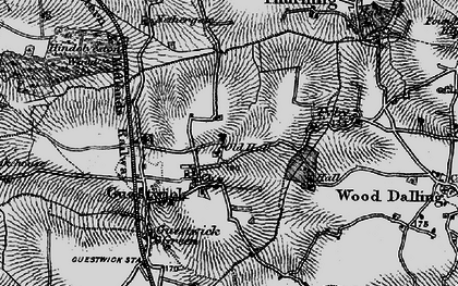 Old map of Wood Dalling Hall in 1898