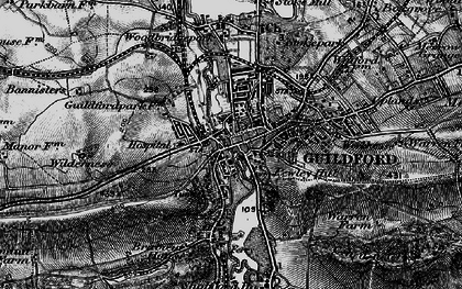 Old map of Guildford in 1896