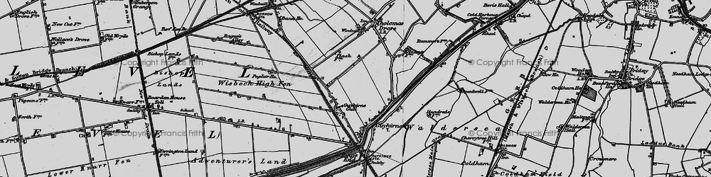 Old map of Wisbech High Fen in 1898