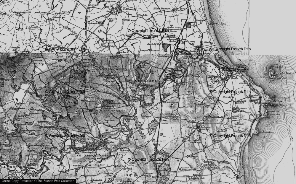 Old Map of Historic Map covering Acklington Park in 1897