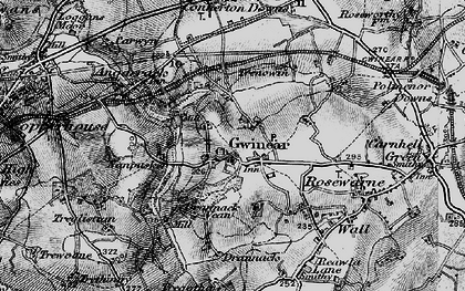 Old map of Gwinear in 1896