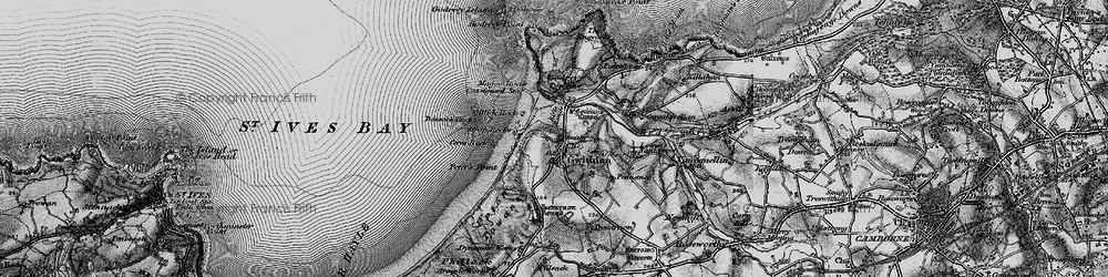 Old map of Gwithian in 1896