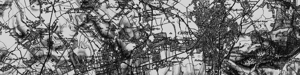 Old map of Hackbridge in 1896