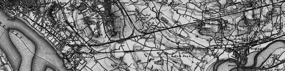 Old map of Halewood in 1896