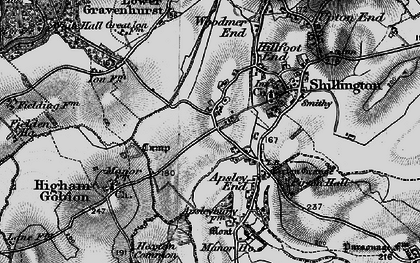 Old map of Hanscombe End in 1896