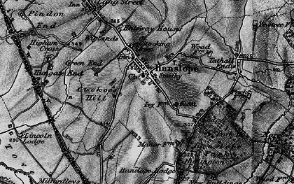 Old map of Hanslope in 1896