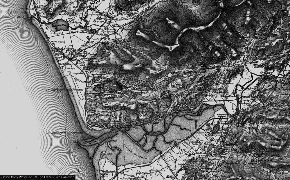 Old Map of Historic Map covering Afon Dyffryn-gwyn in 1899