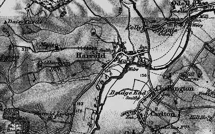 Old map of Harrold in 1898