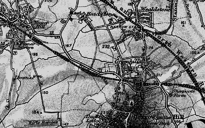 Old map of Harrow in 1896
