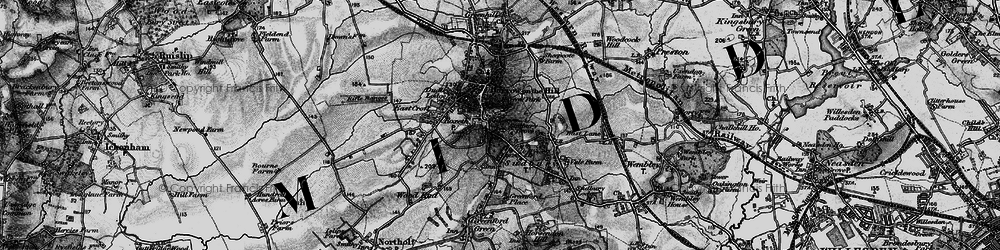 Old map of Harrow on the Hill in 1896