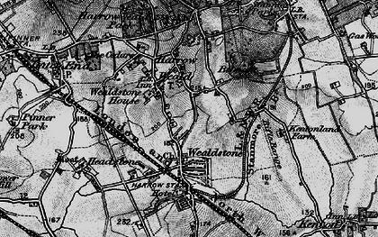 Old map of Harrow Weald in 1896