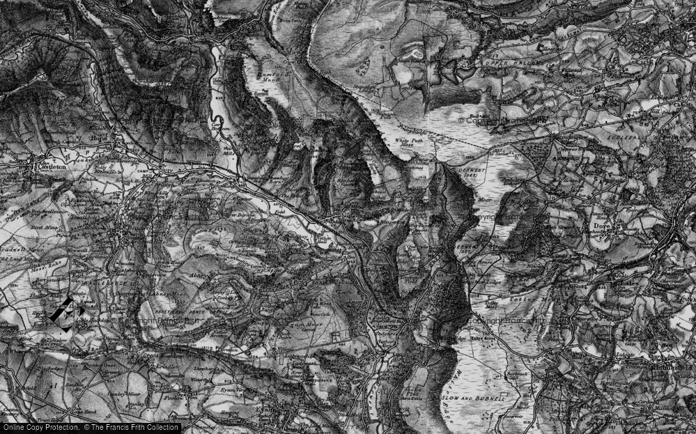 Old Map of Historic Map covering White Path Moss in 1896