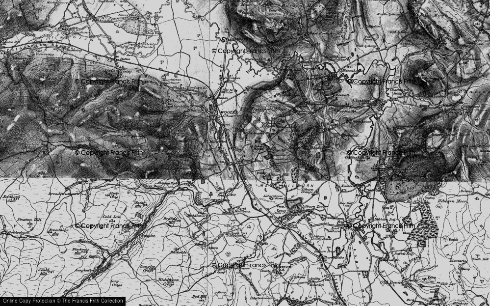 Old Map of Historic Map covering Lilburn Hill in 1897