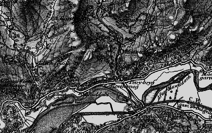 Old map of Afon Cwm-llechen in 1899