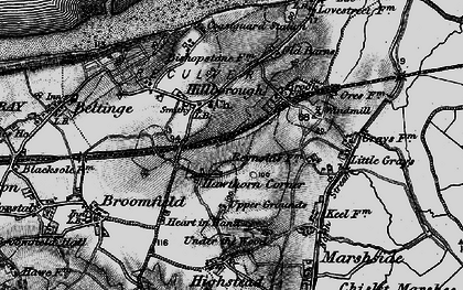 Old map of Hawthorn Corner in 1894