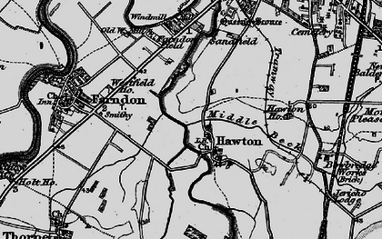 Old map of Hawton in 1899