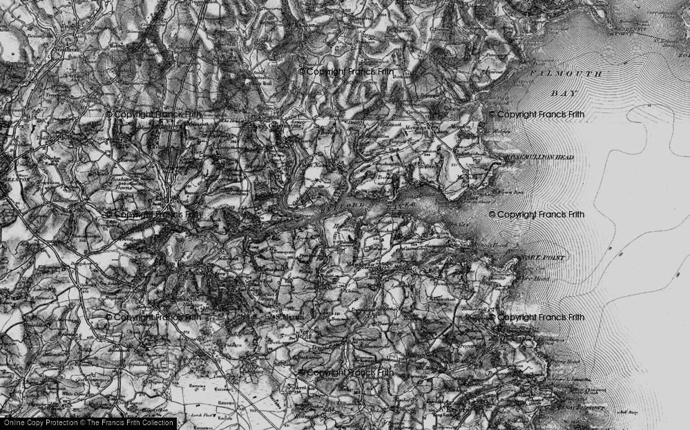 Old Map of Helford, 1895 in 1895