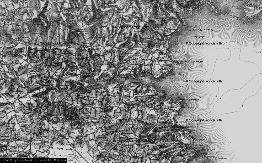 Old Map of Helford Passage, 1895 in 1895