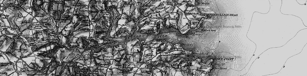 Old map of Helford Passage in 1895