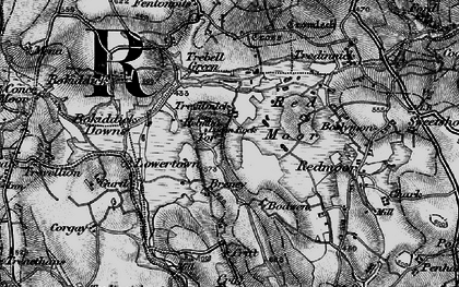 Old map of Helman Tor in 1895