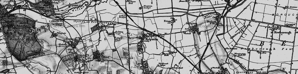 Old map of Helpston in 1898