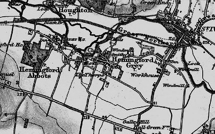 Old map of Hemingford Grey in 1898