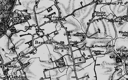 Old map of Witnesham Thicks in 1896