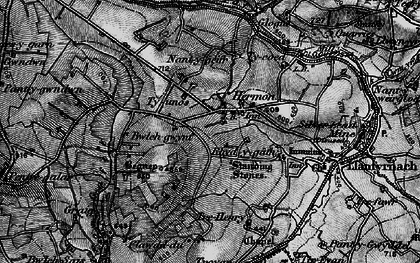 Old map of Afon Gafel in 1898