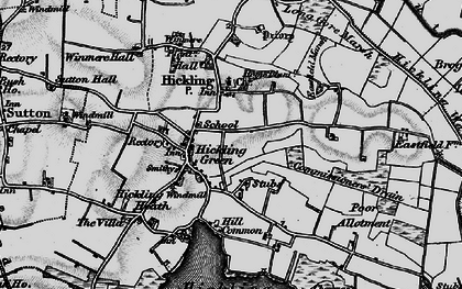Old map of Hickling in 1898