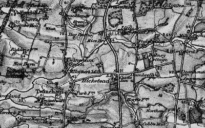 Old map of Hickstead in 1895