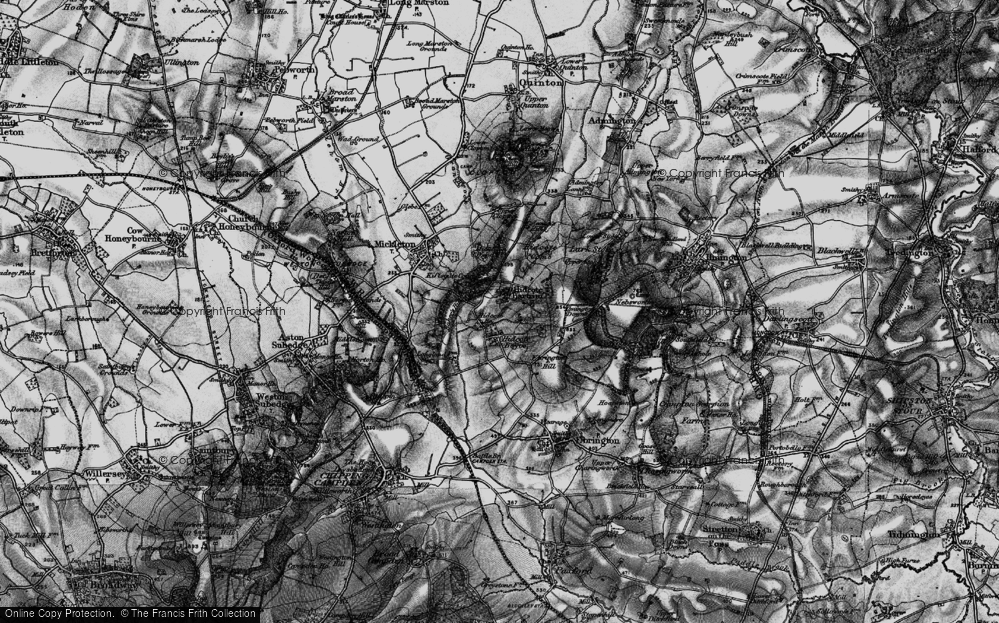 Old Map of Historic Map covering Baker's Hill in 1898